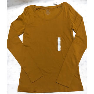 ジーユー(GU)のジーユー GU クルーネック Tシャツ 長袖 ロンT マスタード M 新品 タグ(Tシャツ(長袖/七分))