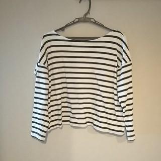 ジーユー(GU)のGU ドロップショルダー ボーダーTシャツ(Tシャツ(長袖/七分))