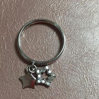 ジュエリーツツミ(JEWELRY TSUTSUMI)のK14 WG スイングダブルスター ピンキーリング(リング(指輪))