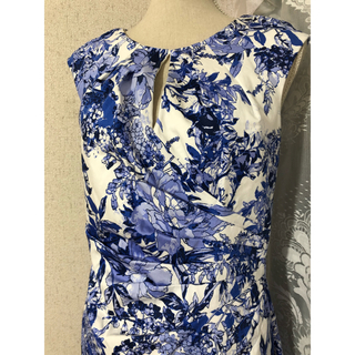 大きいサイズ ADRIANNA PAPELL アドリアナパペル ドレス ブルー(ひざ丈ワンピース)