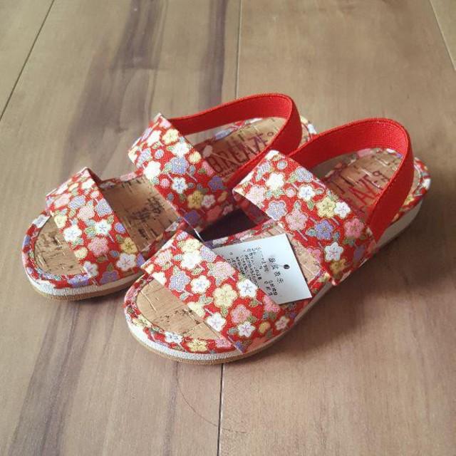 3b763e2499683 新品 サンダル 17cm 七五三 着物 浴衣 甚兵衛 女の子 キッズ ベビー マタニティのキッズ靴