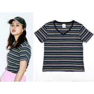 エックスガール(X-girl)の18ss X-GIRL エックスガール マルチストライプ Vネック Tシャツ 黒(Tシャツ(半袖/袖なし))