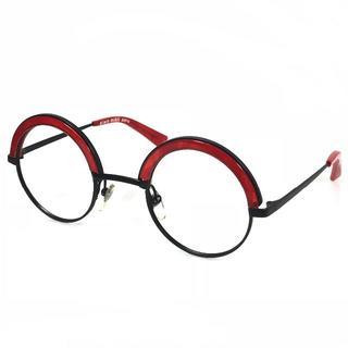 アランミクリ(alanmikli)の美品 アランミクリ メガネフレーム 伊達メガネ レッド ブラック AG26(サングラス/メガネ)