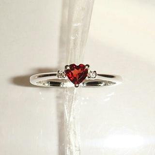 ★可愛いハート型ガーネット&ダイヤモンド 指輪(リング(指輪))