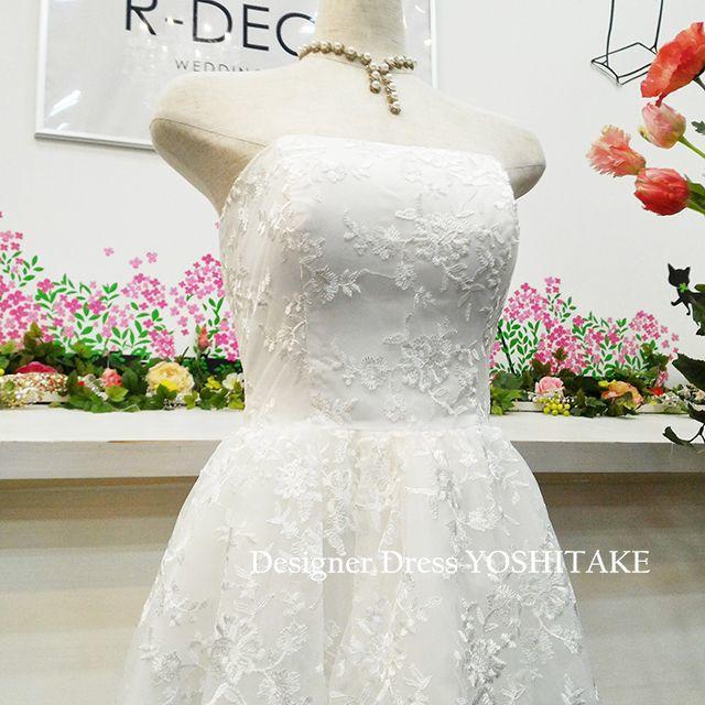 ウエディングドレス(パニエ無料) 前あきレースミモレ丈ドレス 前撮り/二次会 レディースのフォーマル/ドレス(ウェディングドレス)の商品写真