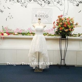 ウエディングドレス(パニエ無料) 前あきレースミモレ丈ドレス 前撮り/二次会(ウェディングドレス)