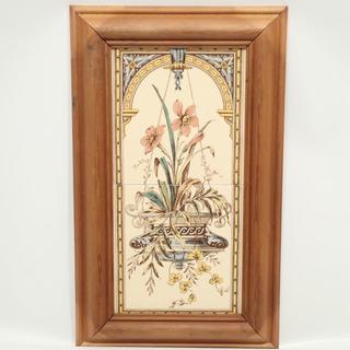 C567 アンティーク 木枠付き タイル ハンギングフラワー 花 2枚(絵画/タペストリー)