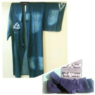 新品☆メンズ浴衣 + ワンタッチ角帯 セット(浴衣)