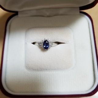 鑑定書付 Pt900 天然ダイヤモンド サファイア 指輪 リング  (リング(指輪))