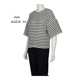 ジーユー(GU)の【GU】ボーダー フリル スリーブTシャツ(Tシャツ(長袖/七分))