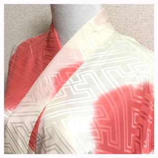 三越謹製 振袖用 正絹 長襦袢 クリームxピンク 紗綾型 中古品(振袖)