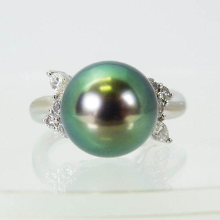 PT900 南洋黒蝶真珠ダイヤ リング 16号 [f235-9](リング(指輪))