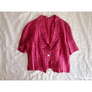 リネン混 チェックの開襟シャツ(シャツ/ブラウス(半袖/袖なし))