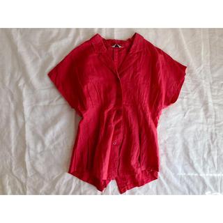 カシスピンクの開襟シャツ(シャツ/ブラウス(半袖/袖なし))