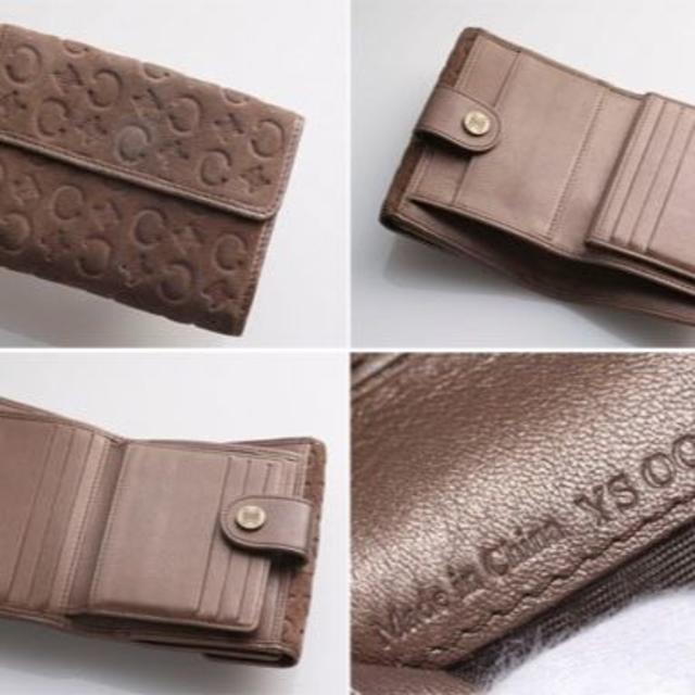 45b3c92a9700 celine(セリーヌ)のG5407M 本物 セリーヌ マカダム柄 スエード Wホック 二つ折 財布