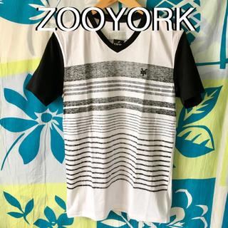 ズーヨーク(ZOO YORK)のZOOYORKズーヨークUS限定デザインボーダーVTシャツM(Tシャツ/カットソー(半袖/袖なし))