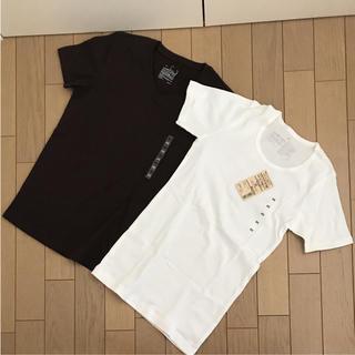 ムジルシリョウヒン(MUJI (無印良品))の新品 未使用  二枚セット 無印良品 シャツ  ブラウン ホワイト XS(Tシャツ(半袖/袖なし))