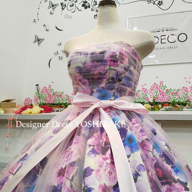 ウエディングドレス(パニエ無料) パープル花柄&ピンクチュール 披露宴/二次会 レディースのフォーマル/ドレス(ウェディングドレス)の商品写真