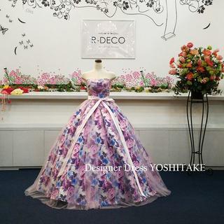 ウエディングドレス(パニエ無料) パープル花柄&ピンクチュール 披露宴/二次会(ウェディングドレス)