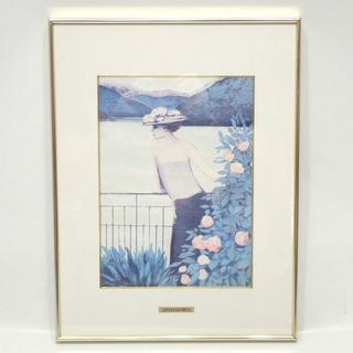 C574 ジャン=ピエール・カシニョール 【芦ノ湖】 絵 絵画 ポスター(絵画/タペストリー)