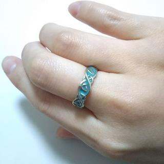 ミルキーブルー らせんリング 14号(リング(指輪))