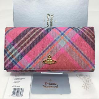 ヴィヴィアンウエストウッド(Vivienne Westwood)の新品☺︎Vivienne Westwood 長財布 チェック ピンク オーブ(財布)