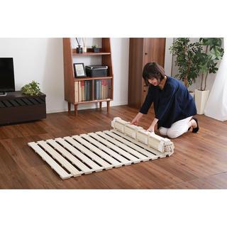 開店記念セール◆桐材を使用したロール式すのこベッド セミダブル(すのこベッド)
