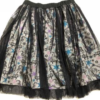 ディズニー(Disney)のディズニー アナと雪の女王 チュールスカート 白✕黒 Mサイズ(ひざ丈スカート)