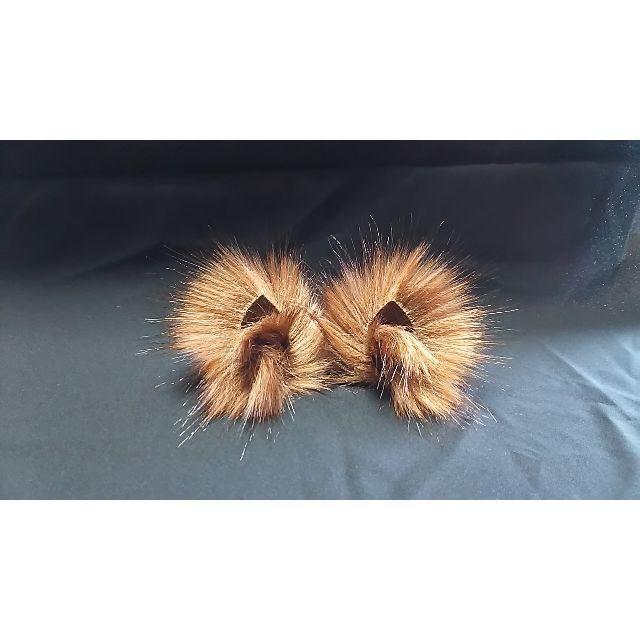 【 ブラウンロイヤルフォックスネコミミ S 】小型のヘアピンねこみみ◆赤茶の狐風 ハンドメイドのアクセサリー(ヘアアクセサリー)の商品写真