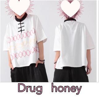 ファンキーフルーツ(FUNKY FRUIT)の[Drug]パンダ🐼の行進プリントチャイナトップス(Tシャツ(半袖/袖なし))