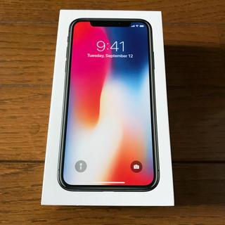 アップル(Apple)の【新品】国内版SIMフリー iPhone X 64GBスペースグレイ 未開封(スマートフォン本体)