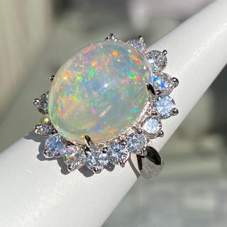 新品大粒 9ct  天然 オパール   ダイヤモンド リング(リング(指輪))