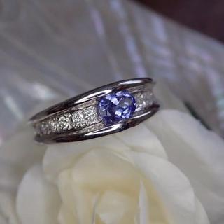 美しい透明感!タンザナイト0.24ct ダイヤモンド0.4ct プラチナリング(リング(指輪))
