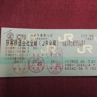 18切符  1回分(鉄道乗車券)