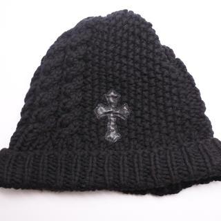 クロムハーツ(Chrome Hearts)のクロムハーツ ニット帽 帽子 ブラック カシミア100% 黒 クロスパッチ付き (ニット帽/ビーニー)