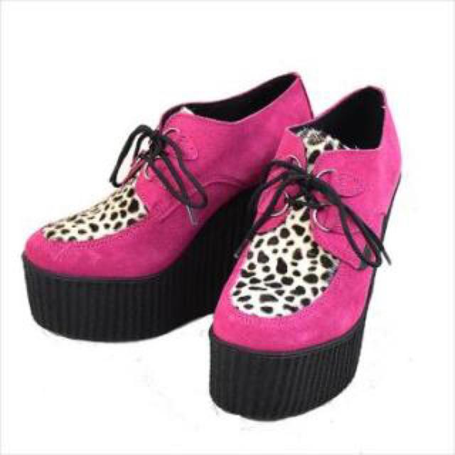 UNDERGROUND(アンダーグラウンド)のアンダーグラウンド(underground)ハラコ 厚底 ラバーソール ピンク レディースの靴/シューズ(その他)の商品写真