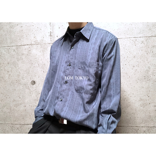 [used]blue navy antique design shirt.(シャツ)
