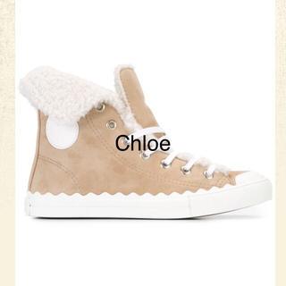クロエ(Chloe)の極美品 クロエ Chloe ムートンブーツ ハイカットスニーカー 36 23(スニーカー)
