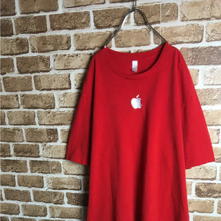 アップル(Apple)のMac好きに! Apple ロゴ スタッフ Tシャツ レッド シルバー 赤 XL(Tシャツ/カットソー(半袖/袖なし))