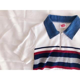 USA古着 デニム襟のニットポロ(ポロシャツ)