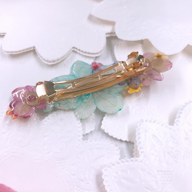 あじさいと小花のバレッタ6cm ハンドメイドのアクセサリー(ヘアアクセサリー)の商品写真