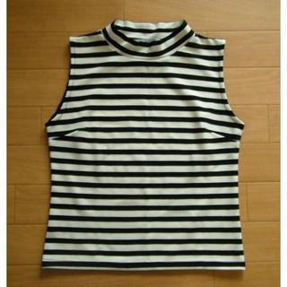 アグノスト(AGNOST)の【美品 AGNOSTアグノスト ボーダーノースリーブカットソー38(Tシャツ(半袖/袖なし))