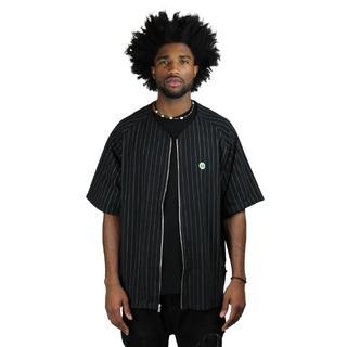 クロスカラーズ(CROSS COLOURS)のクロスカラーズ ジップアップ ベースボールシャツ【M】黒 (Tシャツ/カットソー(半袖/袖なし))