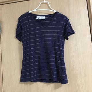 キツネ(KITSUNE)のkitsune キツネ ボーダー Vネック Tシャツ カットソー(Tシャツ(半袖/袖なし))