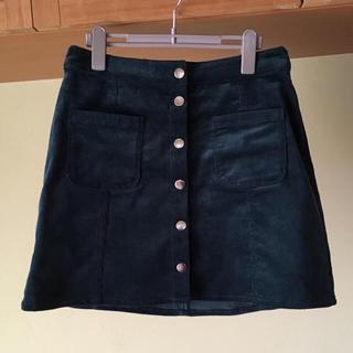 エイチアンドエム(H&M)の台形スカート 深緑 コーデュロイ(ミニスカート)