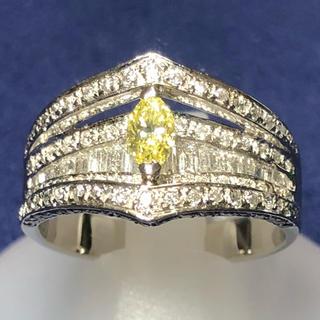 特価!! PT900 プラチナ900 イエローダイヤモンドリング ダイヤモンド (リング(指輪))