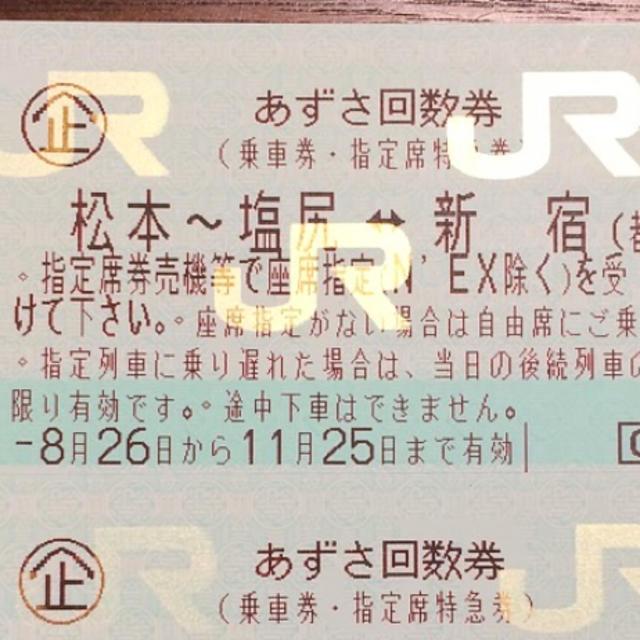 特急あずさ 回数券☆指定席 切符 ...