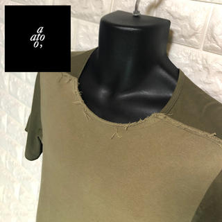 アトウ(ato)のato 切りっ放しダメージ加工切り替え縫製カットソー(Tシャツ/カットソー(半袖/袖なし))