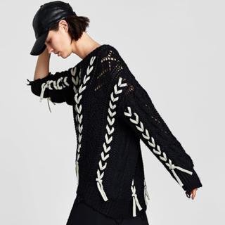 ザラ(ZARA)の完売品 ザラ リボンディティール オープンニット かぎ編み セーター ワンピ(ニット/セーター)