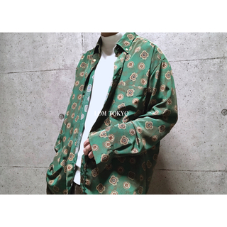 [used]green antique design shirt.(シャツ)